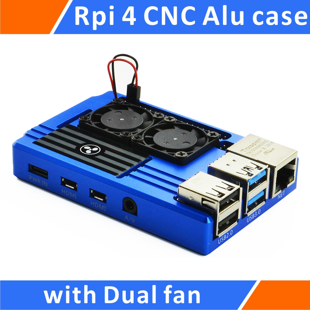 Raspberry Pi 4 Aluminum Case With Dual Intelligent Temperature Control Fan Blue