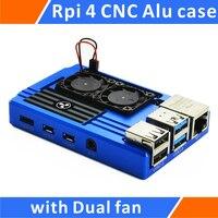Raspberry Pi 4 Aluminum Case with Dual Intelligent Temperature Control Fan Blue