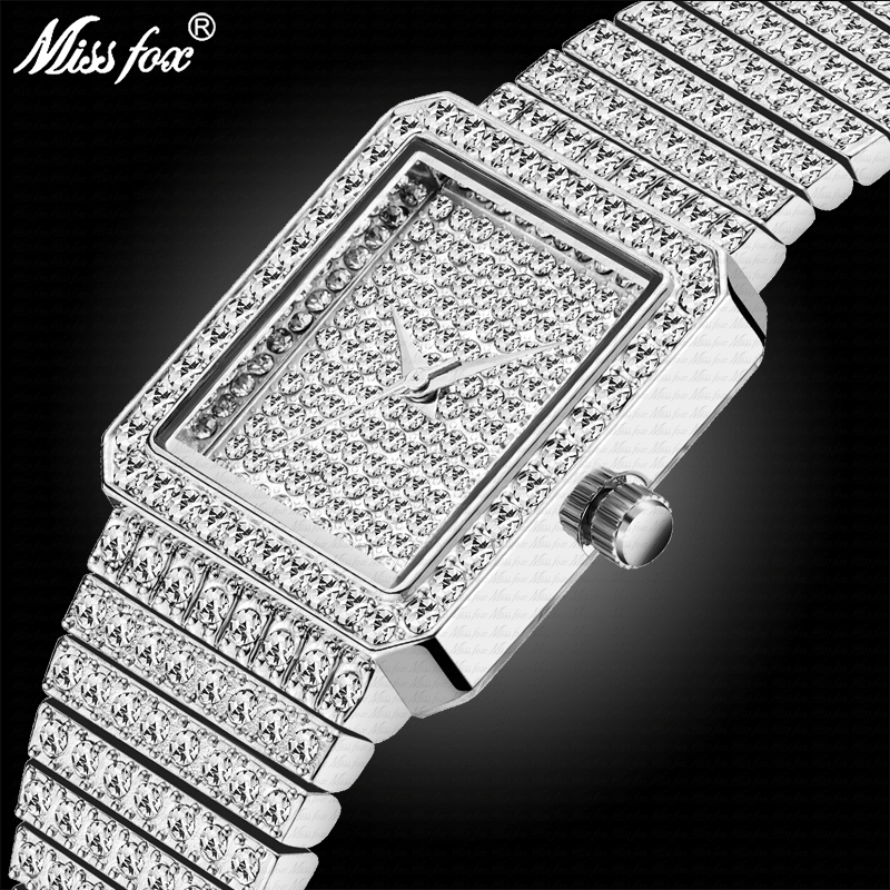 MISSFOX 37mm Silver Square Watch Women Bling Bling Lady Watch For Woman Elegant Dating Match Quartz Wristwatches 2689