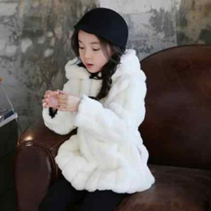 בנות פרווה מעיל סתיו חורף מעיל לילדים סלעית צווארון manteau hiver 2019 פו ארנב פרווה ילד עבה חם להאריך ימים יותר s880