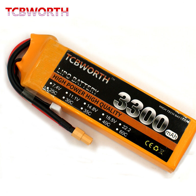 TCBWORT RC LiPo Battery <font><b>4S</b></font> 14.8V <font><b>3300mAh</b></font> 25C RC LiPo Battery For RC Airplane Helicopter Quadrotor Drone Truck RC Battery LiPo <font><b>4S</b></font> image