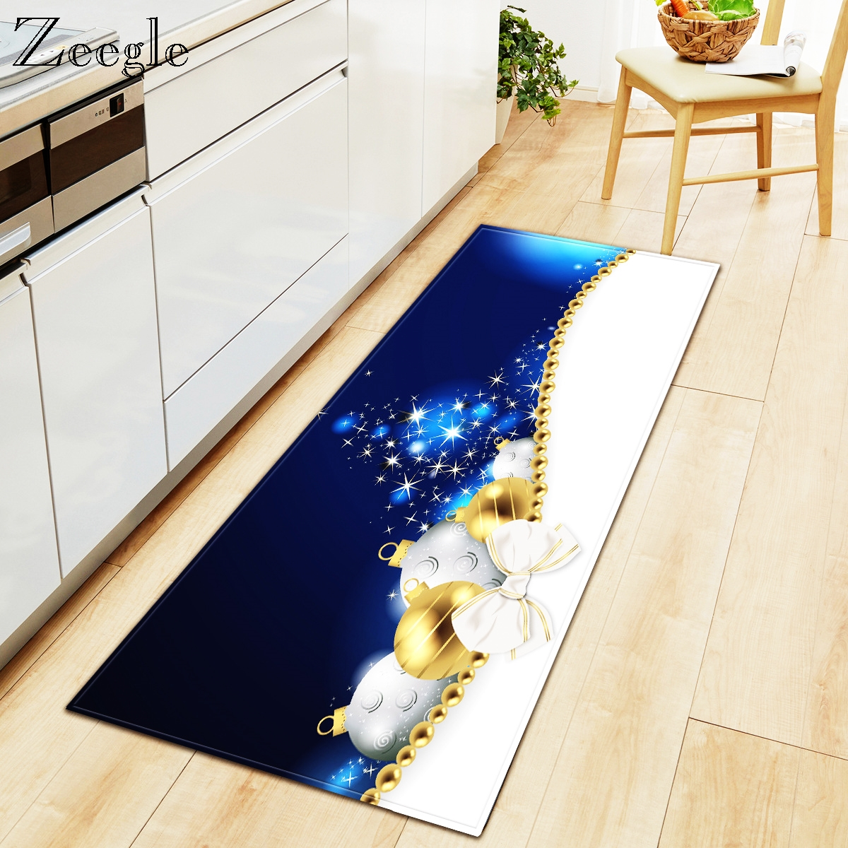 Zeegle Christmas Carpet For Home Decoration Rectangle Kitchen Carpet Anti-slip Hallway Floor Mat Modern Area Rug Entrance Mat