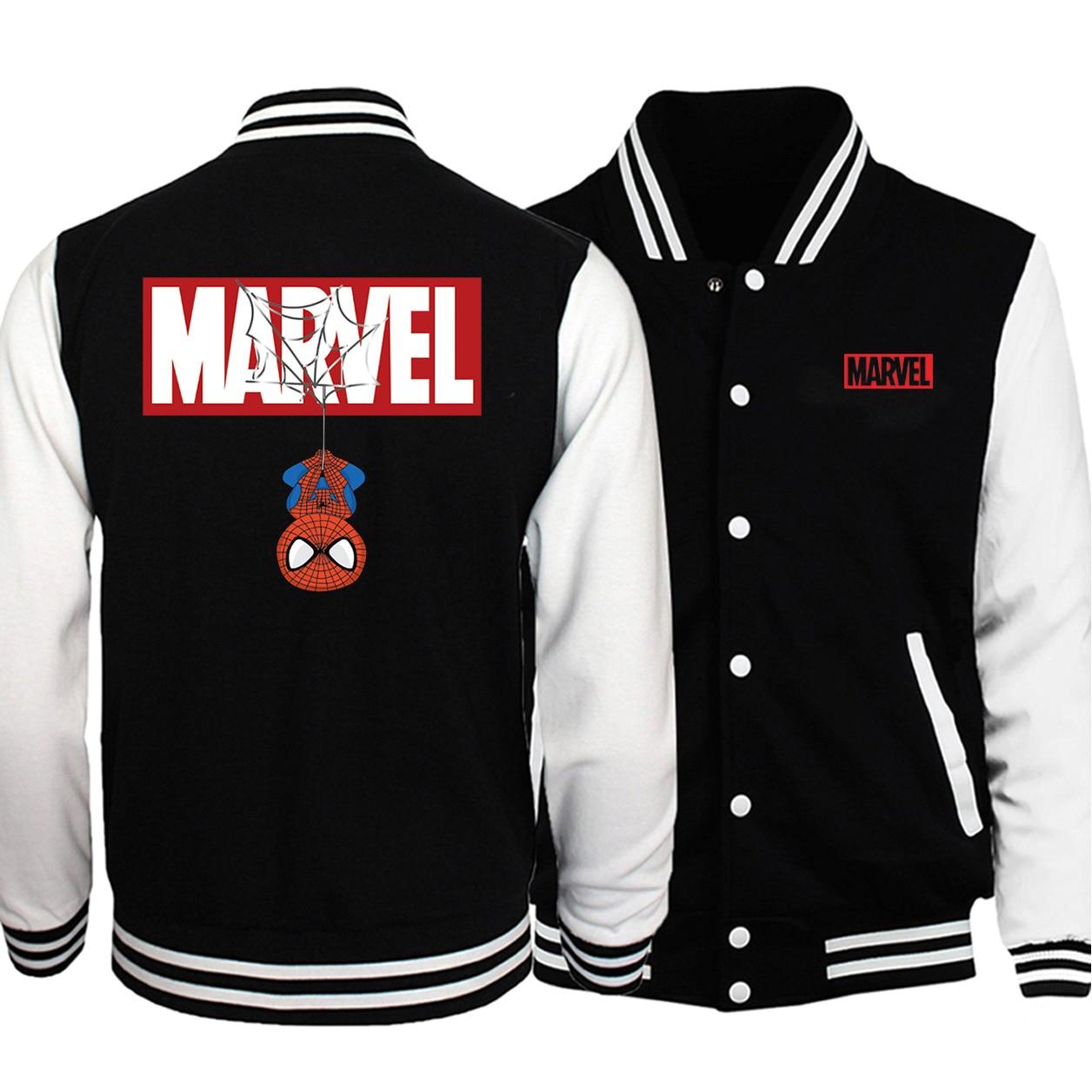 Marvel Spiderman Print Baseball Jackets Men Fashion Uniform Loose Fit Fleece Sweatshirts 2019 Autumn Winter Casual Trend Hoodies