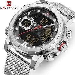 Męskie zegarki Top luksusowa marka NAVIFORCE wojskowe sportowe kwarty zegarki mężczyźni wodoodporny chronograf męski zegar z wyświetlaczem LED Reloj w Zegarki kwarcowe od Zegarki na