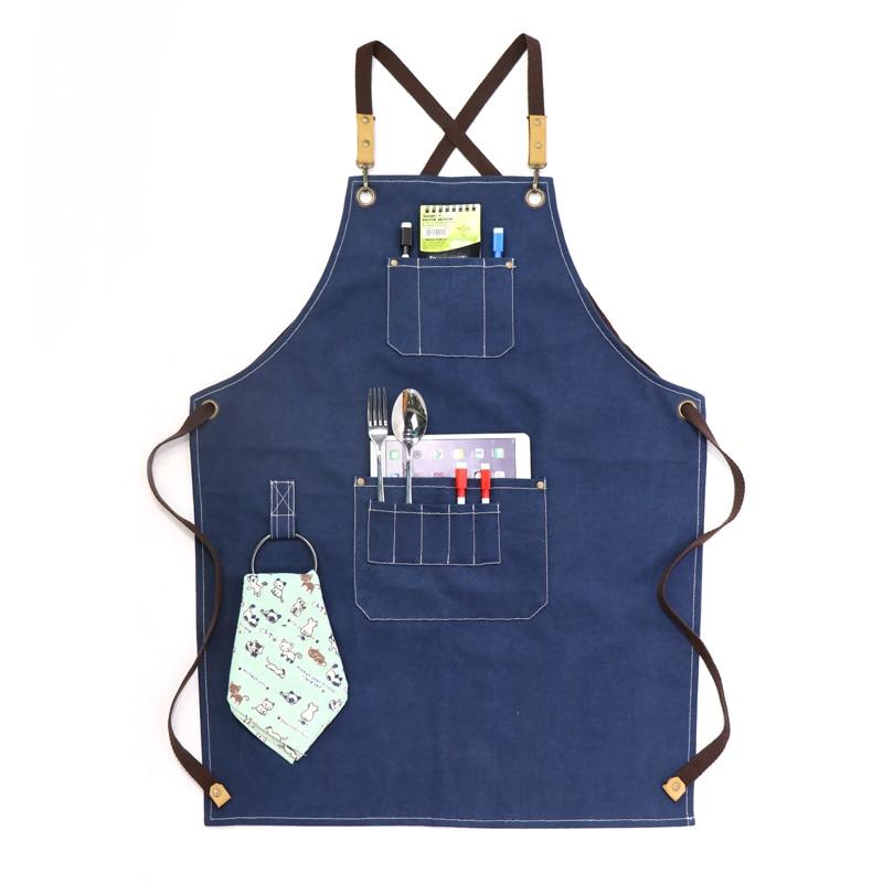 Mandil de herramientas de taller de lujo, delantales de cocina para Chef para mujer y hombre, lona lavada gruesa de alta resistencia con bolsillos para herramientas, babero de Ropa de Trabajo