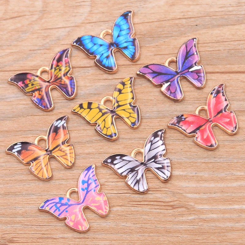 10 шт. 15*22 мм 8 Цвет из сплава в виде металлического капли масла Цвет Фул очаровательные браслеты бабочки из KC животных Подвеска для браслетов ...