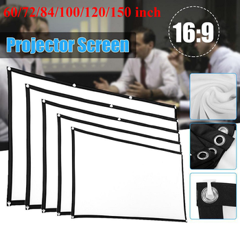 60/72/84/100/120/150 inch Projector Screen Cloth HD Foldable Anti-Crease Proyectores Projection Movies Screen For Home Theater 100 inch table top projection screen
