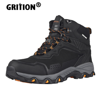 GRITION Men Hiking Boots Casual Waterproof Snow Winter Work Shoes Designer Military Platform Sneakers Army Plush Warm Steel 2020 designer men winter military boots male snow fur combat ankle boots waterproof army rain shoes chaussure homme