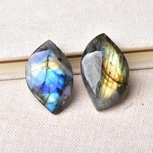 Labradorita Natural con forma de hoja, adornos minerales azules, morados y amarillos, piedra curativa de energía, joyería DIY, Reiki, decoración del hogar
