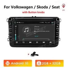 Autoradio Android 10, 2 go/32 go, WIFI, lecteur multimédia, 2 din, navigation GPS, 4G, pour voiture Volkswagen VW Passat B7 B6, Golf Touran, Polo, Sedan, Tiguan, jetta