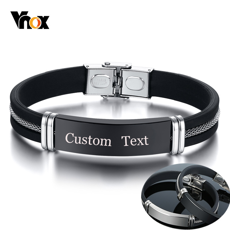 Vnox Casual Leather Bracelets For Men Women Custom Engraving Stainless Steel Personalized Bangle