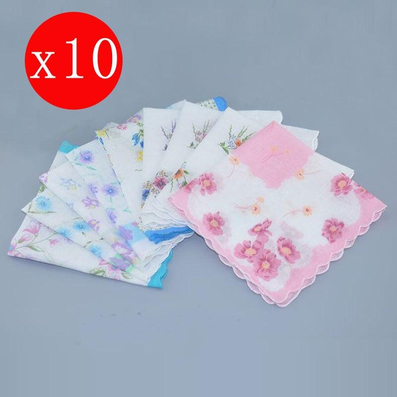 10pcs 28cm Cotton Ladies Flower Print Handkerchiefs Business Women Square Handkerchief  Hanky Towel Wedding Party Christmas Gift