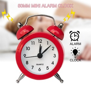 50mm Small Alarm Clock Bell Alarm Clock for Travel Vintage Analog Mini Desk Clock with Bell Camping Outdoor Tools