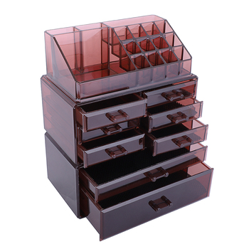 us-w-multilayer-multi-purpose3pcs-set-plastic-cosmetics-storage-rack-6-small-2-large-drawers-clear-brown-household-use