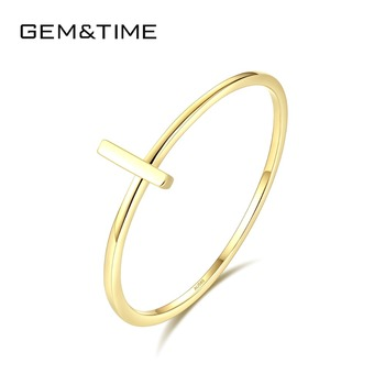 Gem&Time New Fashion Cross Thin Rings for Women Puer 14K Gold Bridal Wedding Band Ring Yellow Gold AU585 Anillos Jewelry R14011