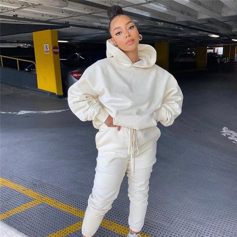 Hirigin sólido conjunto moletom com capuz feminino calças jogger terno de treino combinando duas peças conjunto outono inverno roupas casuais