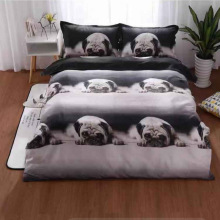 Bedding Set 3D Cute Dog Kittens Animals Simple Style 4pcs Family Children's Room Duvet Quilt Cover Set Bed Sheet Set Pillowcases