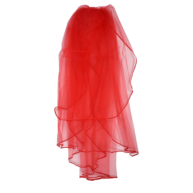 New 3 Tier Elegant Wedding Bridal Ribbon Side Tulle Veil With Comb Red