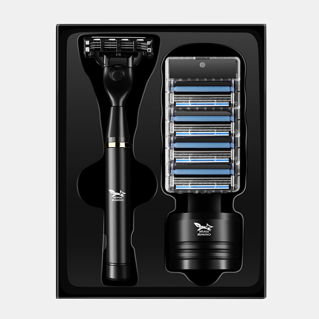 Black Manual Shave Razor Three Layer Blades Razor for Men Shaving Razor Blades Safety Razors Face Care Beard Shavers Gift Box 2