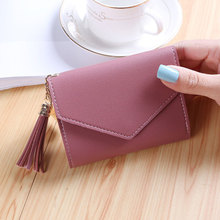 New fashion small purse female short Japanese and Korean version of the cute little fresh tassel mini student ladies wallet clip