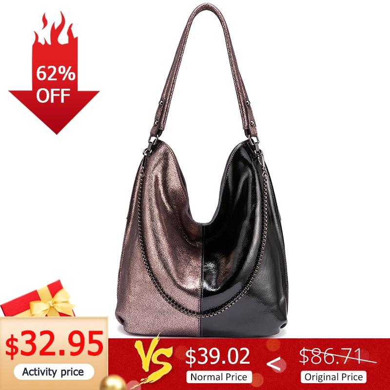 REALER Women Shoulder Bag Genuine Leather Hobo Bag For Ladies 2019 Patchwork Totes Female Luxury Handbags Women Bags Designer