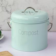 Estilo nórdico casa compostagem bin 3l cozinha de aço inoxidável compostagem bin cozinha composter para resíduos de alimentos filtro carvão zm924