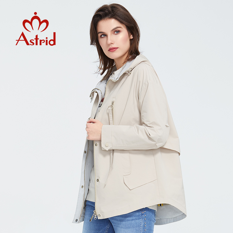 Astrid 2020 New Spring Fashion Short Trench Coat Hooded High Quality Urban Female Outwear Trend Loose  Jacket Thin Coat ZS-3088