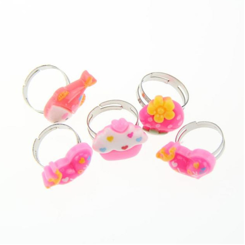 5PCS Multi-color Adjustable Cartoon Rings For Girls Gift Doll Dress Up Accessories Party Favors Kids DIY Crafts Toy Random New
