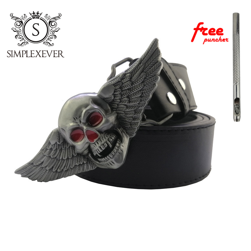 Eagle West Cowboy Jeans Gift Belt Buckle With Silver Finish Men's Skull Belt Buckle For 4cm Width Snap On Belt Skull Belt Buckle