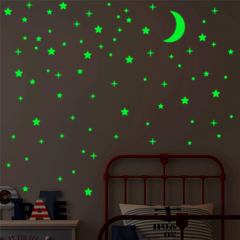 Creative Wall Sticker Moon Glow In The Dark Luminous On Wall Stickers For Kids