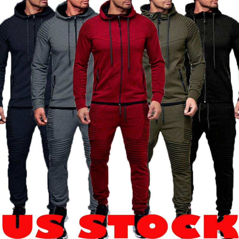2PCS Men Tracksuit Sport Jacket+Pants Casual Sport Jogging Athletic Trainer Suit