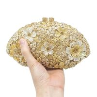 Boutique Glitter Flower Clutch Shell Shaped Evening Purse Handbag Women Formal Dinner Wedding Party Prom Bridal Shoulder Bags
