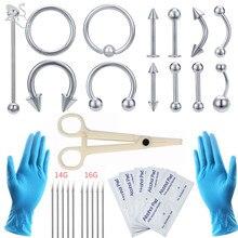 ZS Piercing Tool Kit 12-20G jednorazowe profesjonalne Piercing igły Clamp rękawice narzędzia ucha Tragus nos pępek Piercing
