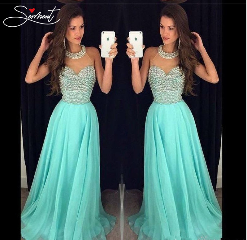 SERMENT 2019 Autumn Europe and The United States New High-end   Evening     Dress   Sleeveless Hanging Neck Free Shipping