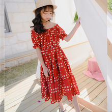 Girl Dress Summer 2020 New Polka Dot Mother And Daughter Dress Clothes Short Sleeve Long Dresses For Girls Fashion Kids Clothing split bell sleeve cut and sew polka dot dress