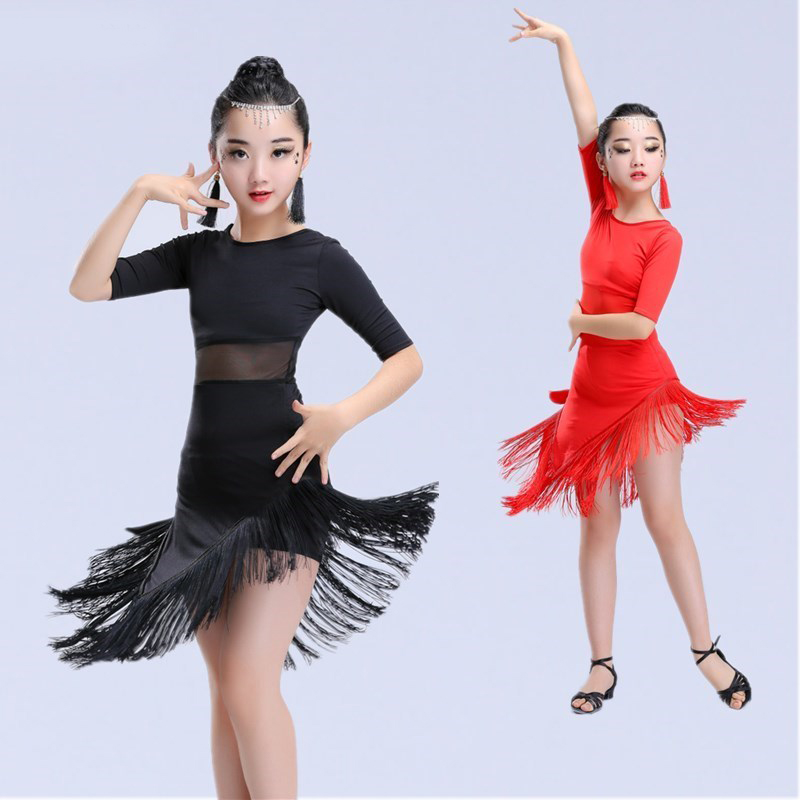 Image 3 - New Girls Latin Dance Dress Fringe Latin Dance Clothes Kids Competition Salsa Costume Black Red Child Ballroom Tango Dresses-in Latin from Novelty & Special Use