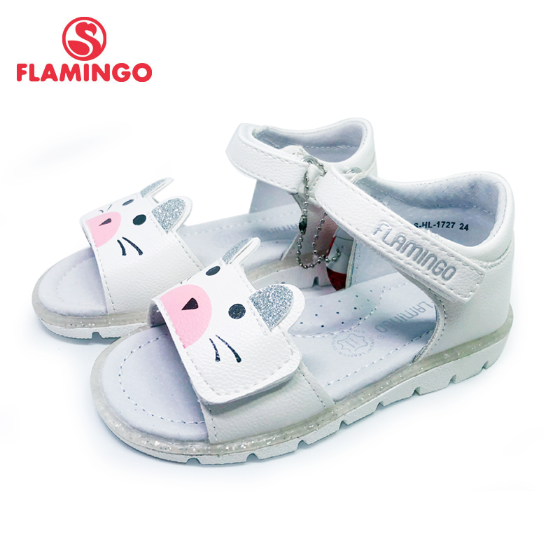 FLAMINGO 2020 Summer Kinder Sandalen Hook& Loop Flat Arched Design Chlid Casual Princess Shoes Size 24-29For Girls 201S-HL-1727