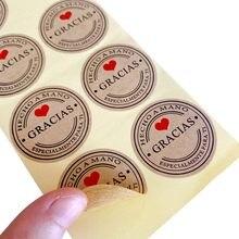 100 Pçs/lote Gracias Espanhol Kraft Obrigado etiquetas Autocolantes Pacote Artesanal Etiqueta do Selo do Envelope Scrapbooking Papelaria Adesivo