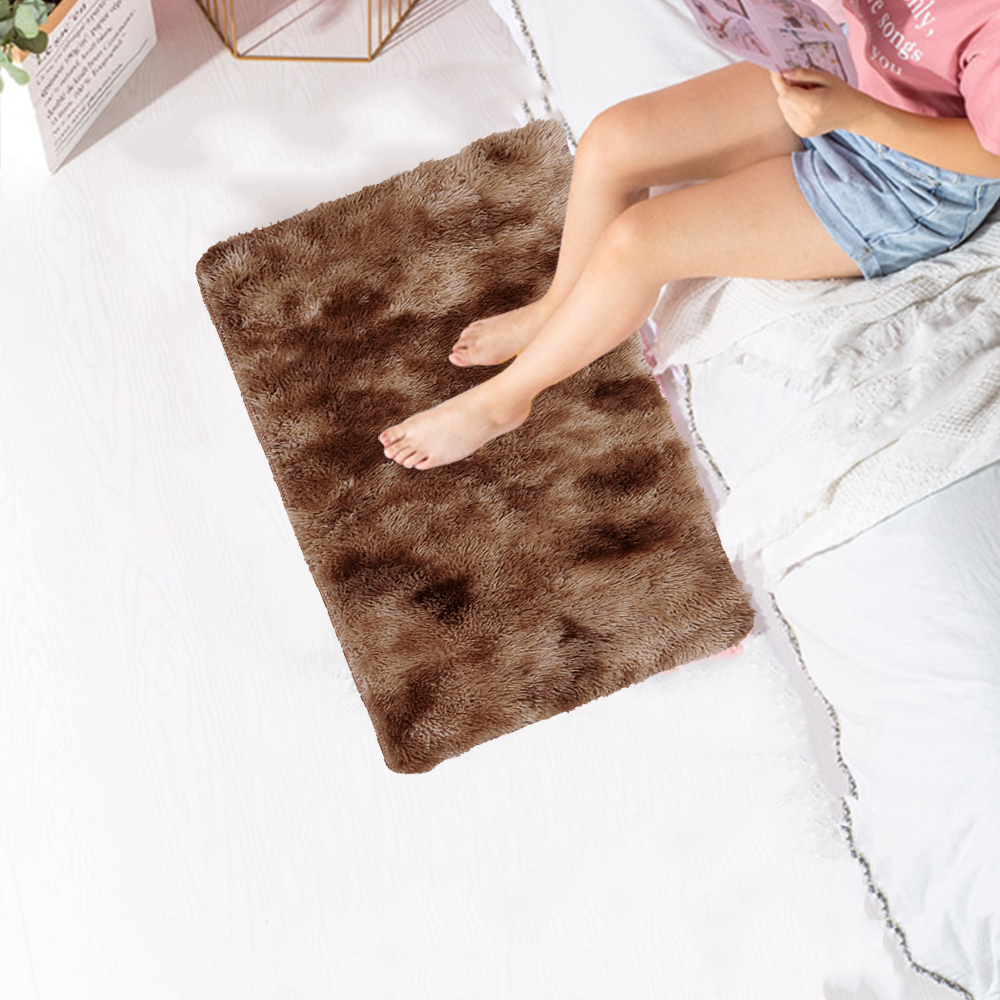 Floor Carpet Fluffy Rugs Area Rug Bedroom Sofa Hotel Home Decoration Mat Dining Room 60x40cm Tie-Dyed Polyester Fiber