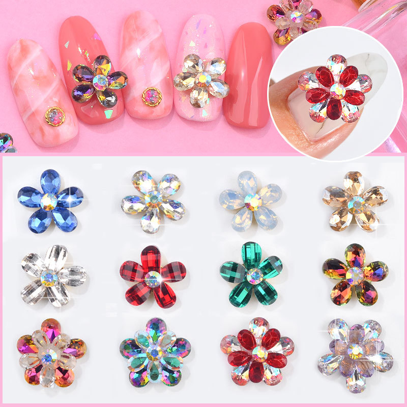Japanese Style Manicure Petal Diamond Jewelry Finished Product One-piece Big Flower Drilling Heap Flowers Petal Water Droplet Co