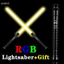 Pqbd rgb sabre de luz pesado dueiling lasor espada lanterna led sabre luz brinquedo para crianças presente