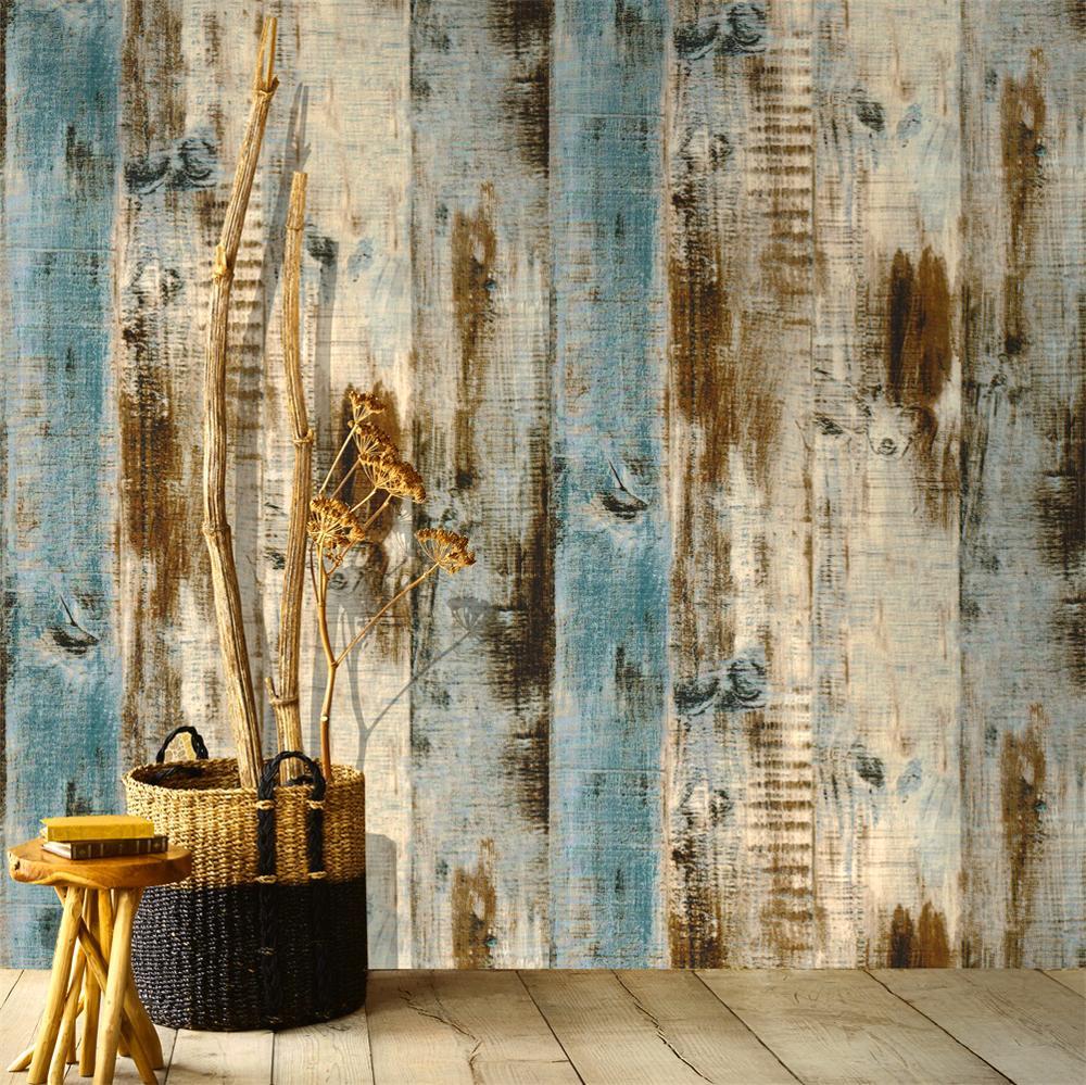 Bois Pour Mur Chambre haokhome vintage bois planche papier peint pour murs 3d auto