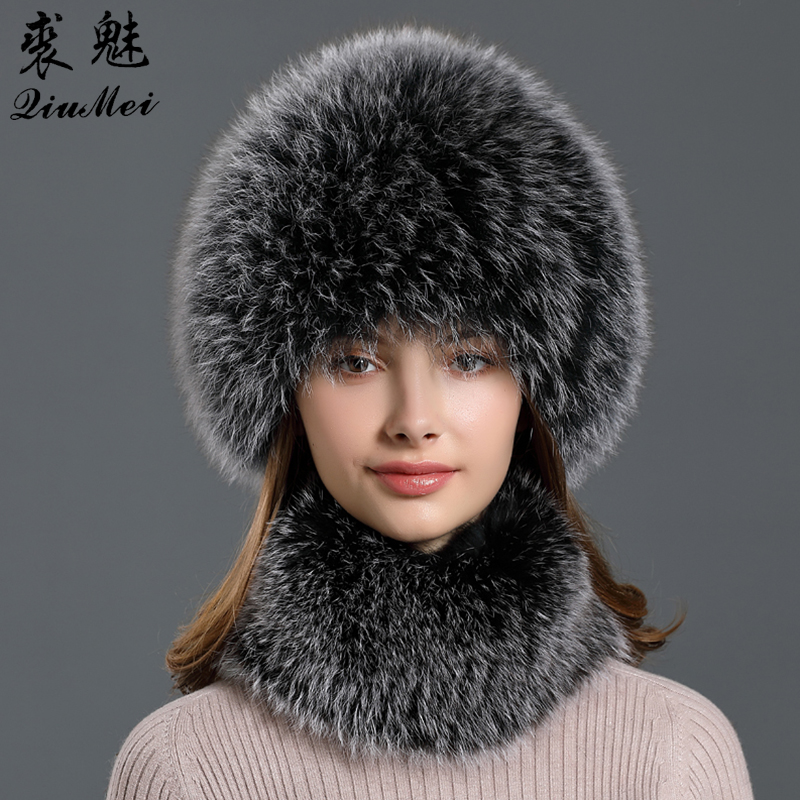 Genuine Fur Hats And Scarf Neck Ring Sets For Womens Wintet New Collar Headband Hand-made Caps Fur Set Knitting Fur Natural Fox