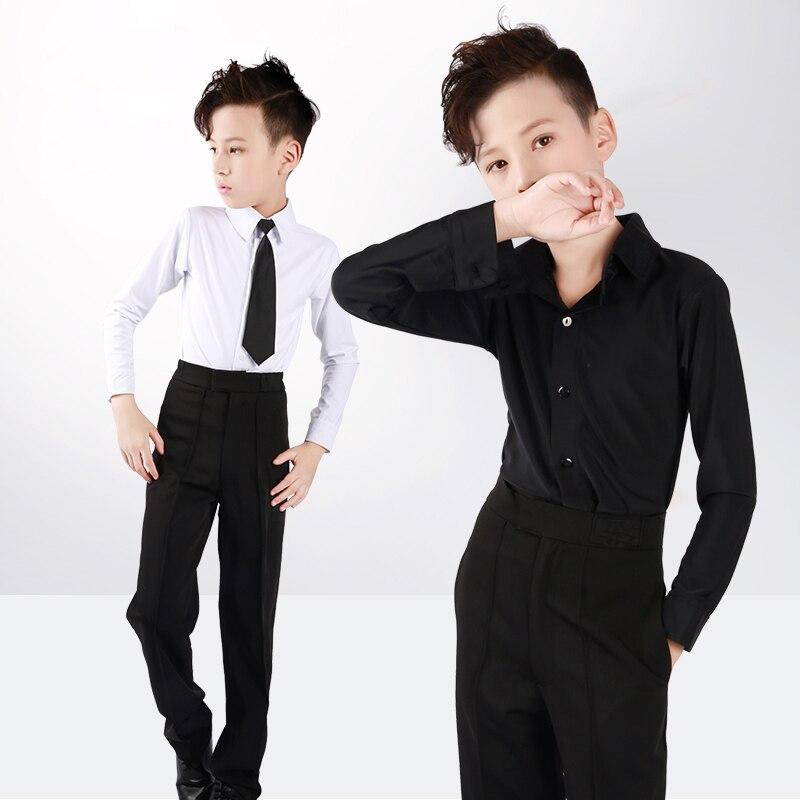 Col montant professionnel chemise de danse latine garçons adulte à manches longues noir mince haut de danse justaucorps vêtements de danse pour les garçons