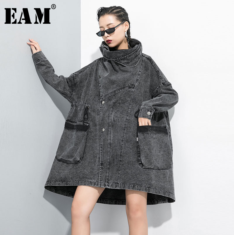 [EAM] Women Black Big Size Denim Trench New Lapel Long Sleeve Loose Fit Windbreaker Fashion Tide Spring Autumn 2020 1D208
