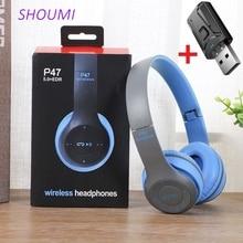 P47 אלחוטי אוזניות מתקפל בס Bluetooth 5.0 אוזניות ילד קסדת מתנה, TF כרטיס, עם מיקרופון USB Bluetooth מתאם עבור טלוויזיה משחקים