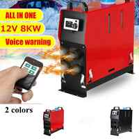 12V 8KW Red/Black Air Diesel Heater Car Parking Heater 1/4 Holes For Car Trucks Trailer With Remote Control Monitor Low Noise