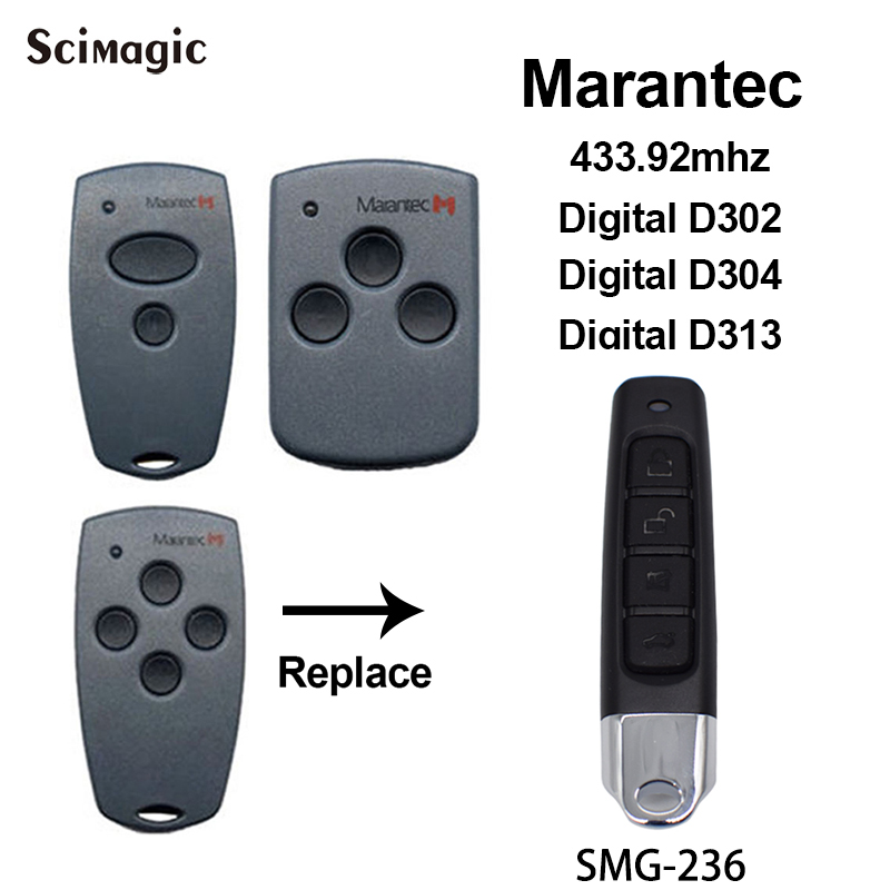 Marantec D302 D304 D313 Compatible Remote Control 433.92MHz Marantec Digital / Comfort Garage Command Transmitter Fixed Code