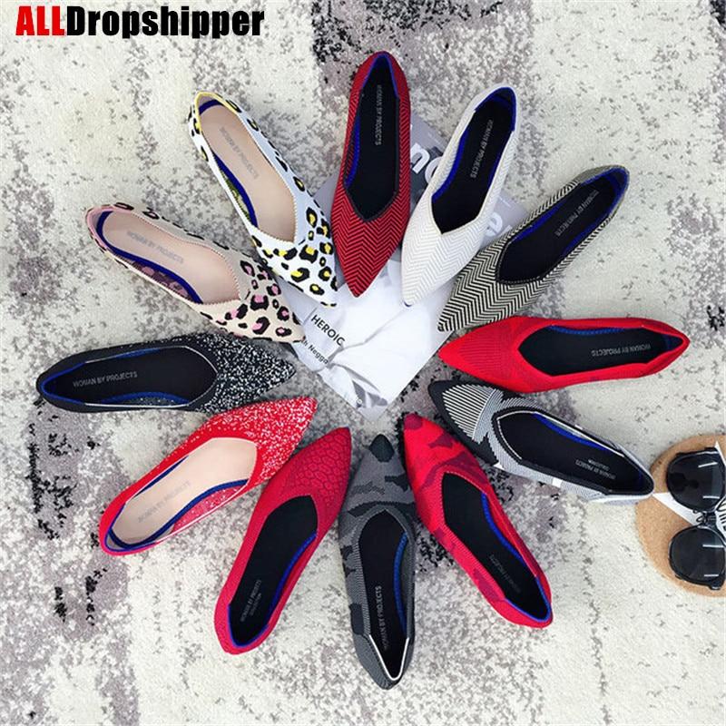 Повседневные женские туфли на плоской подошве; Женские водонепроницаемые Мокасины с закрытым острым носком; Брендовые вязаные Лоферы для беременных; Женская обувь|Обувь без каблука|   | АлиЭкспресс