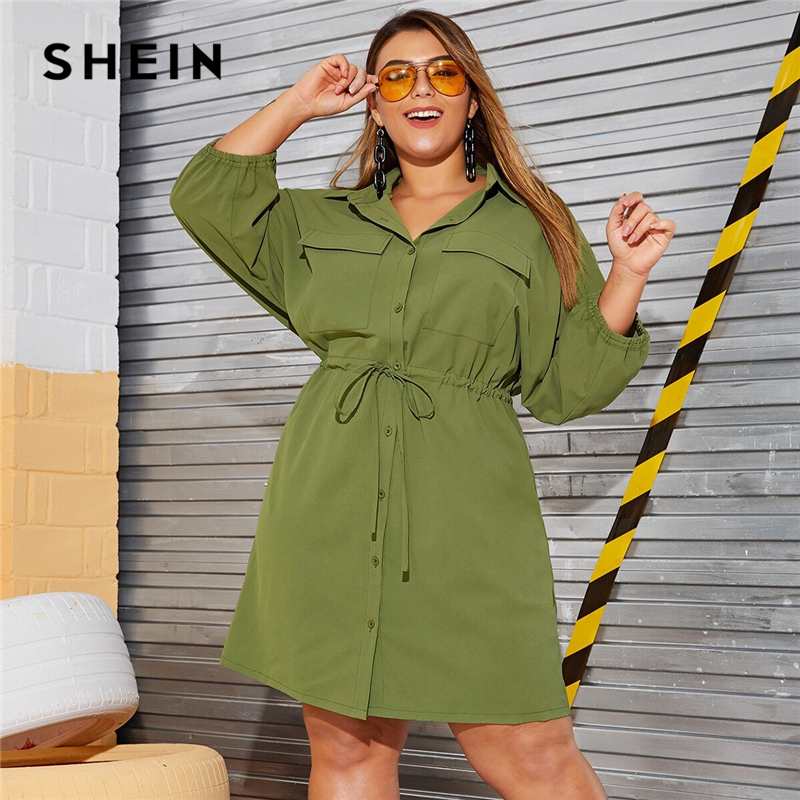 SHEIN Plus Size Army Green Drawstring Waist Pocket Side Cargo Shirt Dress Women Autumn High Waist Flared Casual Plus Dresses
